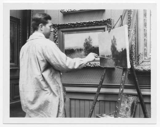 Salvatore Aucello copying a painting, c. 1922