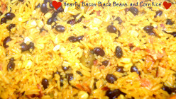 Hearty Rice with Bacon, Black Beans, and Corn.