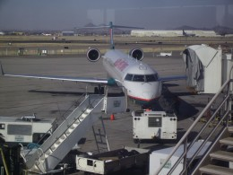 An American Airlines Jet at gate of Tucson International Airport