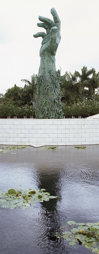 The Sculpture of Love and Anguish by Kenneth Triester at the Holocaust Memorial in Miami, Florida