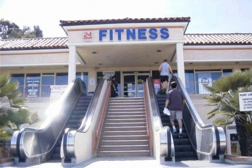 Funny but often true. Be serious in losing weight. Use the stairs!
