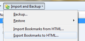Image3: Import and Backup, Export bookmarks to html
