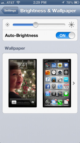 "Lower your brightness in ""Brightness & Wallpaper"""