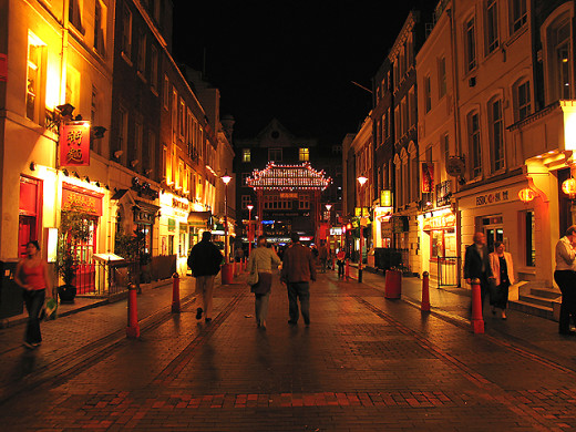 """Chinatown"" in Soho: City of Westminster. The row of Chinese Restaurants in the Soho area of the city. (South eastern section of the square"