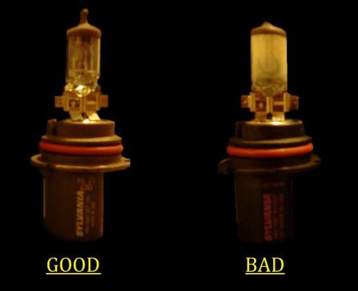 Sylvania Halogen Headlight Bulbs. Left: Good Bulb Right: Bad Bulb (broken at the top)