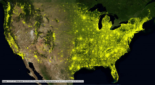 US 2010 population distribution by Census Tract. Each Census Tract is shown as a yellow dot. The intensity of the dot is determined by the number of people in the Census Tract. Image created in CensusViewer.com. Data is from the 2010 US Census.