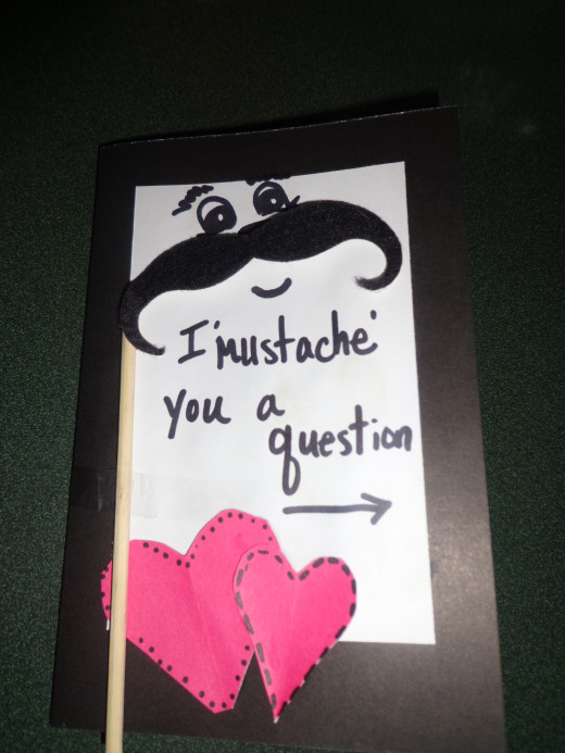 front of handmade mustache card
