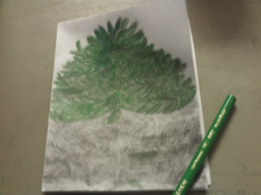 In this picture I have colored about half of the Christmas tree.