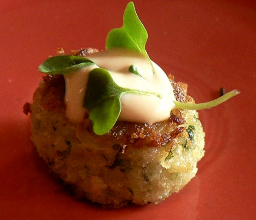 Crab cakes resemble salmon patties. They are easy to prepare and cook