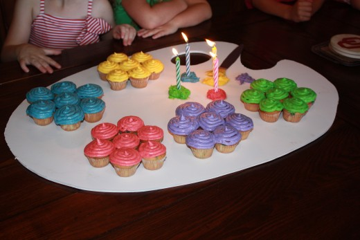 "The ""drips of paint"" served as candle holders on our artist's palette birthday cake."