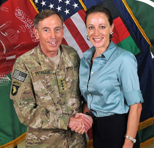 This is a now famous photo of General Petraeus and author Paula Broadwell.