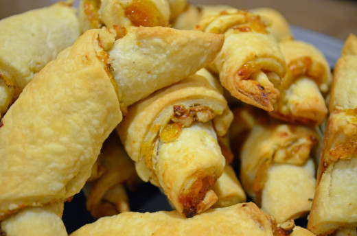 Light and crispy from the oven walnut and apricot rugelach.