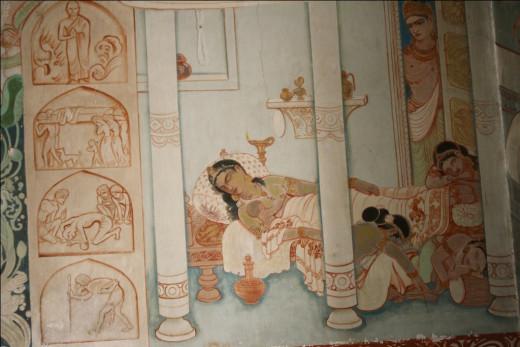 Siddhartha Gautama leaving his wife and son