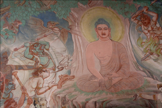 The Buddha is attacked by Satan while meditating