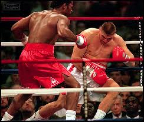 Lennox Lewis made quick work of Andrew Golota by flattening the Pole in one round.