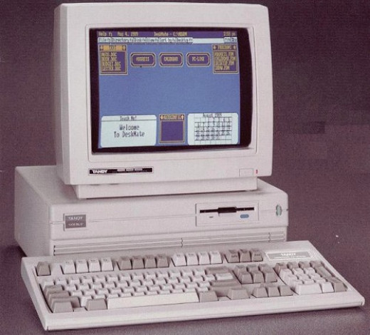 The infamous Tandy 1000, the computer I used to write my first novel. Mine had dual floppies and a whopping 128K memory.