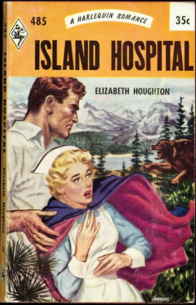 I'll be she isn't 40. Why is she wearing her uniform in the woods? Is he pushing her toward the bear?