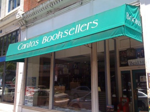Cantos Booksellers, Roanoke, Virginia, the only local bookstore that gave me a chance.
