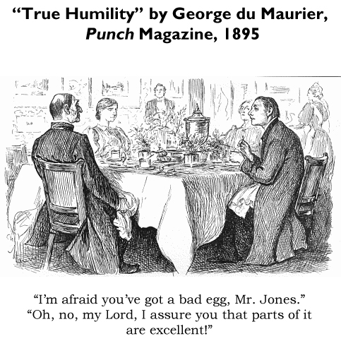 "Famous cartoon from the 1800s, origin of the phrase ""a Curate's Egg."""