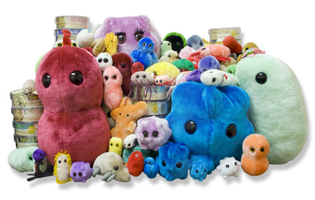 Stuffed animals that resemble microbes, only thousands of times bigger than a real microbe.