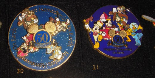 Pins for Disneyland's 50th year celebration.