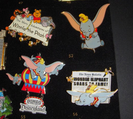 Different Dumbo pins that have movement.