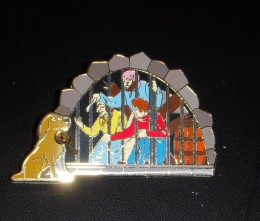Pirates of the Caribbean pin with subtle dangle feature. Note the key that the dog holds.
