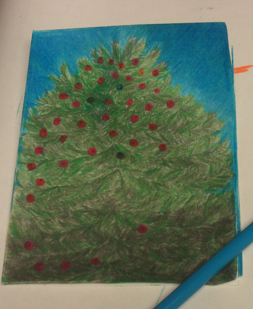 I created the balls on the Christmas trees with markers so these would be vibrant.