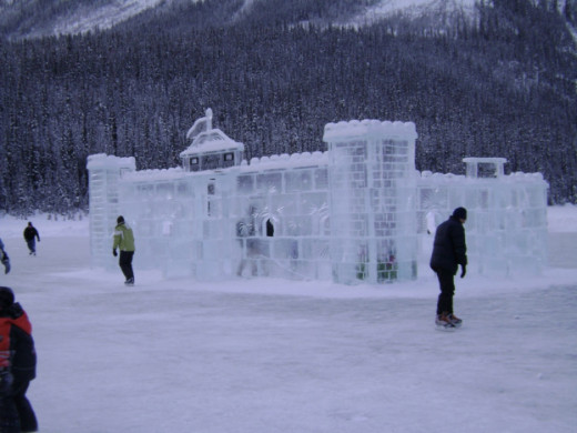 Ice Castle on Lake Louise in Calgary, Canada