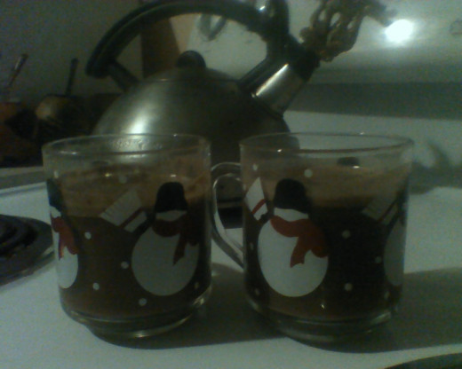 Winter ~ Dragon kettle and cocoa in snowman mugs