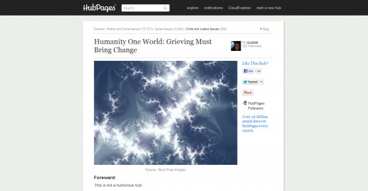 Humanity One World:  Grieving Must Bring Change - Follow Hubpages link (below)