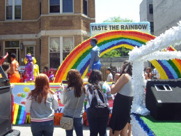 Skittles float in the 2011 Pride parade in Chicago, IL. This was one of 250 floats. With over 750,000 in attendance.