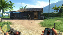Far Cry 3 Retrieve Your Equipment - the heavy armored pirate guards the hut that holds Jason's equipment.