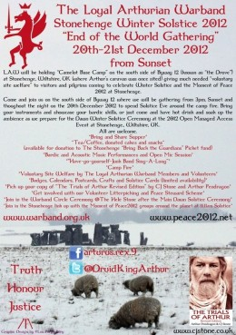 "Loyal Arthurian Warband Stonehenge Winter Solstice 2012 ""End of the Wordl Gathering"" flyer"