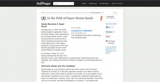In the Path of Super Storm Sandy - (follow Hubpages link below to get there)
