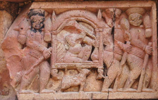 Palanquin in terracotta; Maluti
