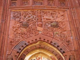 Terracotta work; front facade of a temple showing the battle between Lord Rama & Ravana; Maluti