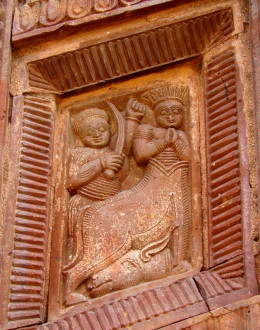 A scene from the Ramayana (Lord Rama killing the demon Maricha who came in the form of a golden deer) in terracotta, Maluti