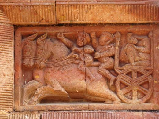 A horse drawn chariot; terracotta, Maluti