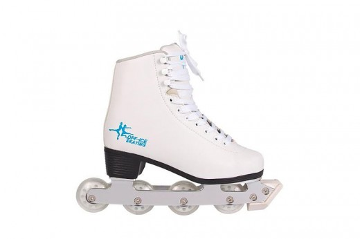 An example of an inline artistic skate. This is increasingly becoming a popular option for off-ice training or exclusive off ice use.