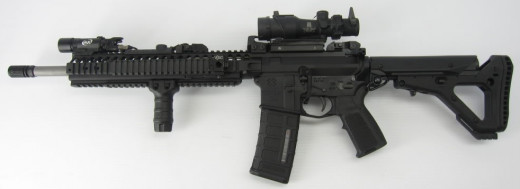 Example of an AR-15 style rifle. Exact model used unknown