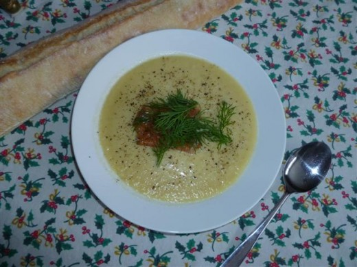 Voila! Vichyssoise garnished with smoked salmon or gravlax and a sprig of dill.