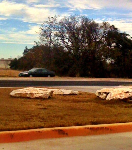 Stones on a median