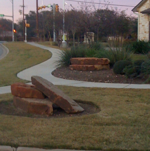 Beautifully placed stones on a commercial property.
