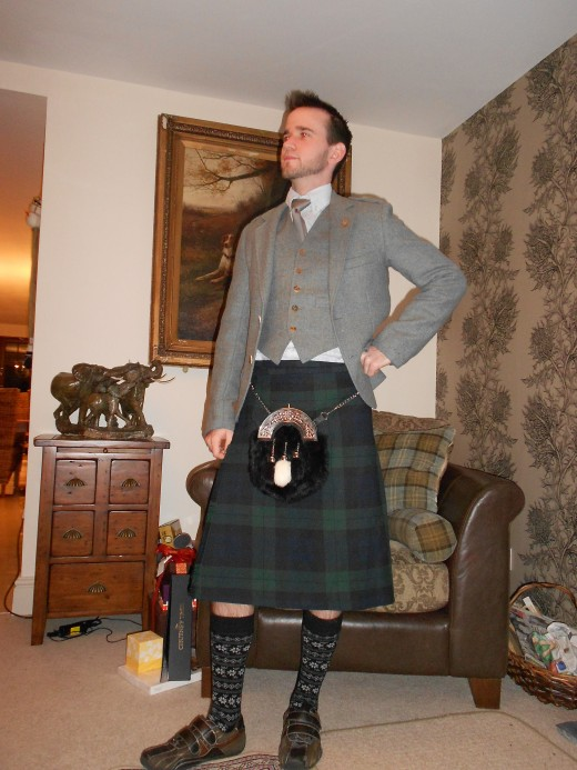 Sporting the kilt during Hogmany (New Year's Eve) in Stonehaven, Scotland.