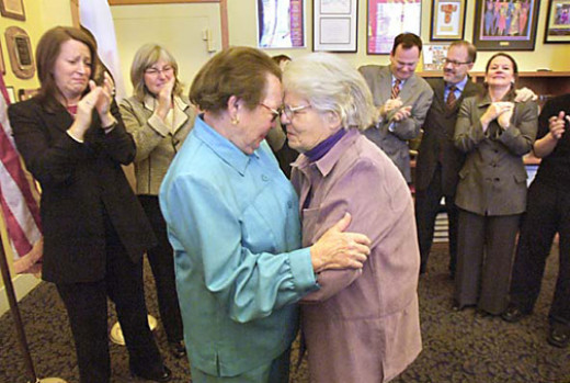Phyllis Lyon and Del Martin's wedding in San Francisco.