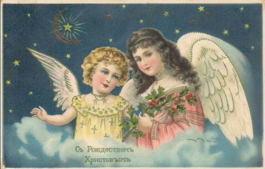 "PostCard saying ""Merry Christmas"" in Russian"