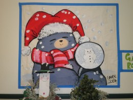 A cute Anime Manga bear character dressed up for the holidays. Wonder if he's mad or just tired because he's got small eyes?