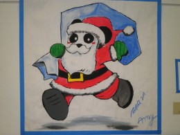 An Anime Santa bear with large Manga eyes.