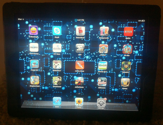 A mobile tablet with various applications and games.